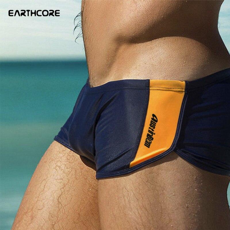 Buy Swimsuit Men Boxer Swimming Trunks Red Black Blue Swimwear Low Waist Beachwear Elastic Surfing Briefs Breathable Beach Shorts