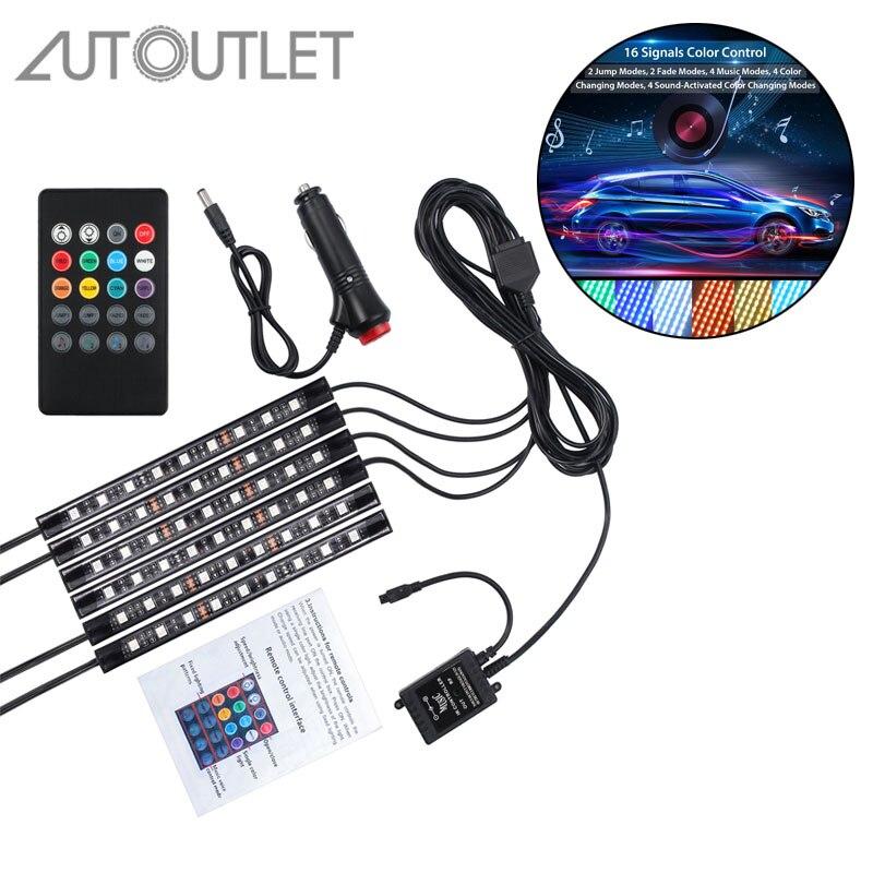 6PCS 9 LED Strip Light RGB Car Interior SMD Neon Lamp 12V 7 color Music Control