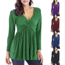 Spring V Neck Pleat Long Sleeve Womens Peplum Blouse Casual Solid Plus Size Women Clothing Vetement Femme Ey*