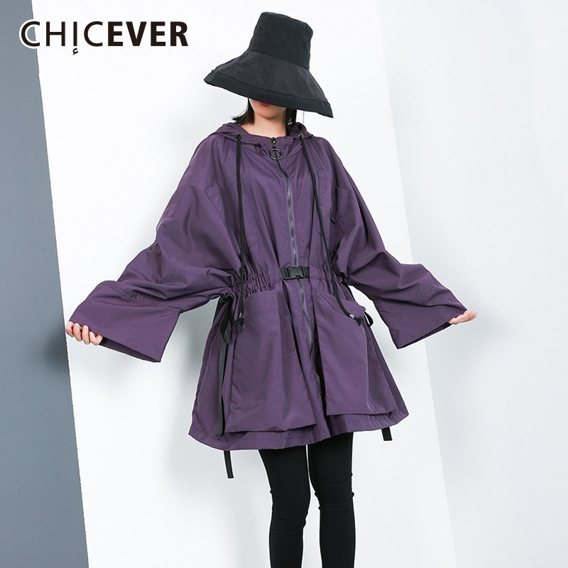 CHICEVER Autumn Women's Windbreaker Hooded Batwing Long Sleeve Drawstring Zipper   Trench   Female Coat 2018 Fashion Clothing Tide
