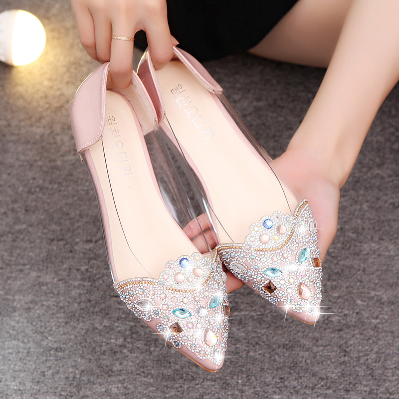 NEW Fashion 2019 Flats Shoes Women Ballet Princess Shoes Casual Crystal Boat Shoes Rhinestone Women Flats Shoes659