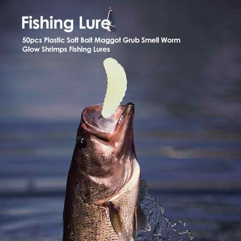Esche da pesca Verme Grub Richiamo Morbido di Pesca Ganci Odore Worms Glow Gamberetti Pesce Esche Artificiali Richiamo Morbido Esche Strumenti