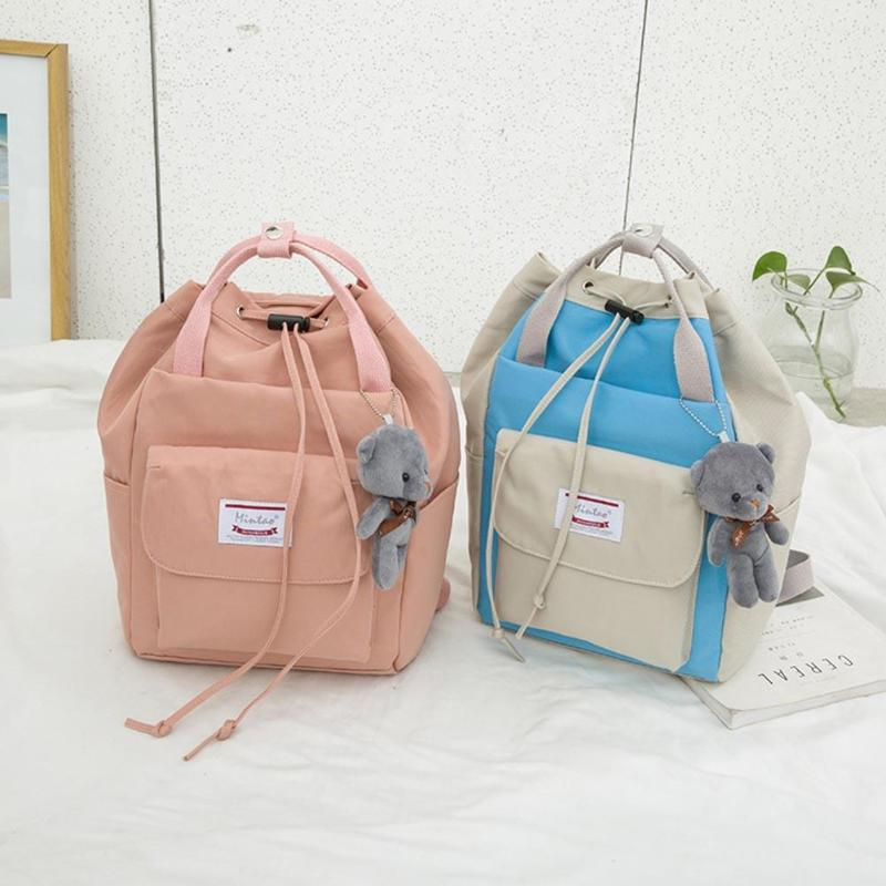 Women Large Shoulder Backpack Preppy Style Bear Drawstring Travel Teenager School Backpack Mochila Feminina 2019 Hot Selling image