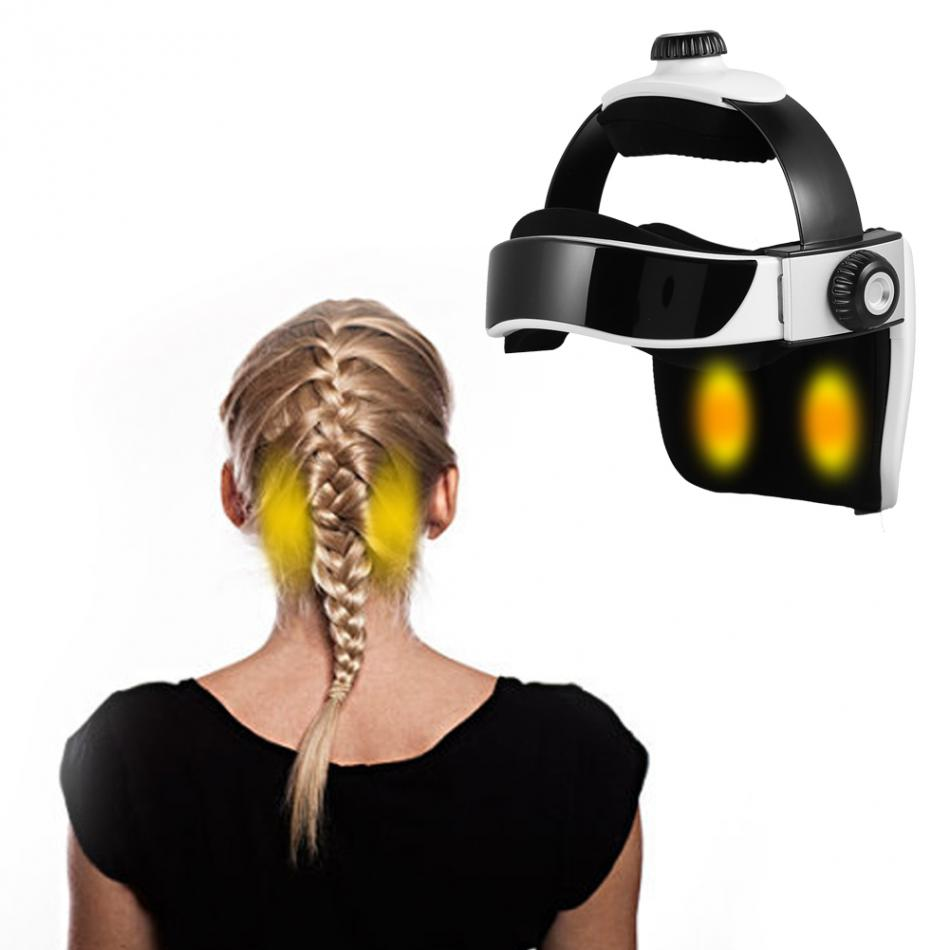 Electric Head Massager Hot Compress Air Pressure Music Adjustable Helmet Eyes Brain Massage Pressure Relief Relax Health Care