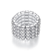 Adjustable fashion style elastic silver ring ladies 3 row crystal rhinestones finger ring toe ring bridal jewelry Holiday gift(China)