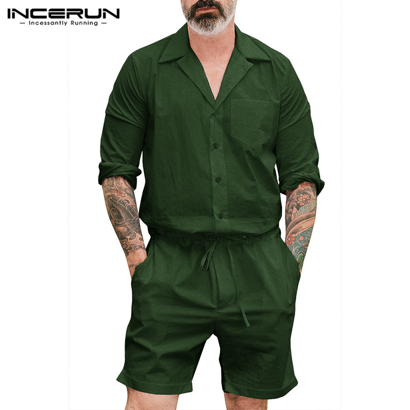 INCERUN 2020 Vintage Men Jumpsuit Rompers Long Sleeve Pockets Pants Loose Solid Playsuit Streetwear Men Cargo Overalls Hombre