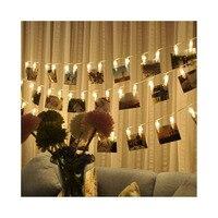 50 фото зажимы гирлянды/держатель, Крытый Фея гирлянды для висит фотографии рождественские карты, фото клип держатель