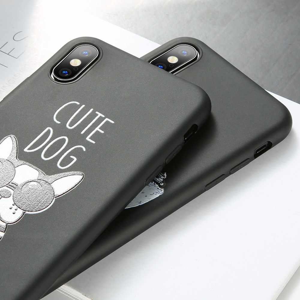BEIJOS Universal Case para iPhone 7 8 plus X XR XS MAX Caso Bonito Do Gato Do Cão Em Relevo para o iphone X XS MAX XR 6 6 S 7 8 Mais Fundas