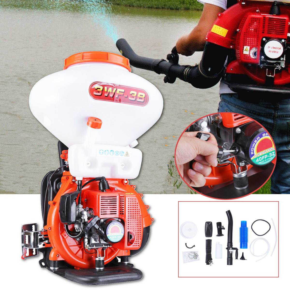41.5cc 26L Agricultural Mist Duster Power Sprayer Gasoline Powered 3WF-3B Backpack Blower Fogger Garden Tools Pest Control