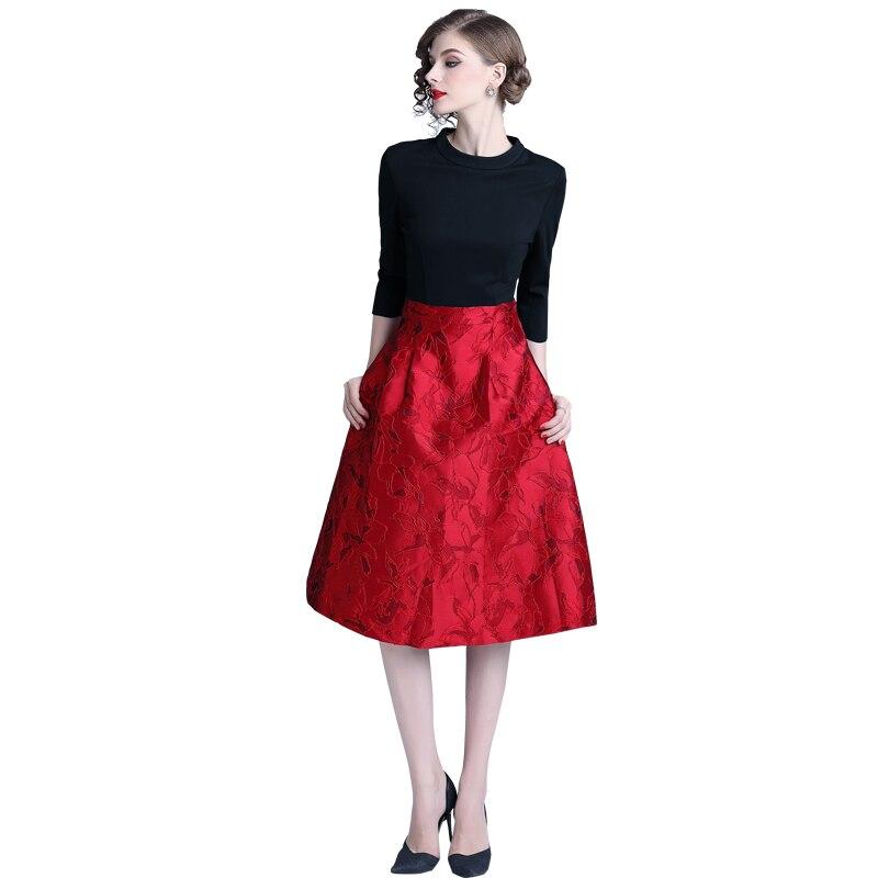 Patchwork Robe Jacquard Robes 320 Longues Nouveau Trimestre Femmes Mode Rouge Mince Trois Manches RqxwHASY