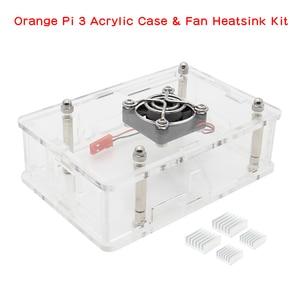 Juego de carcasa de acrílico naranja Pi 3, carcasa protectora + ventilador + juego de disipador de calor de aleación de aluminio para Orange Pi 3