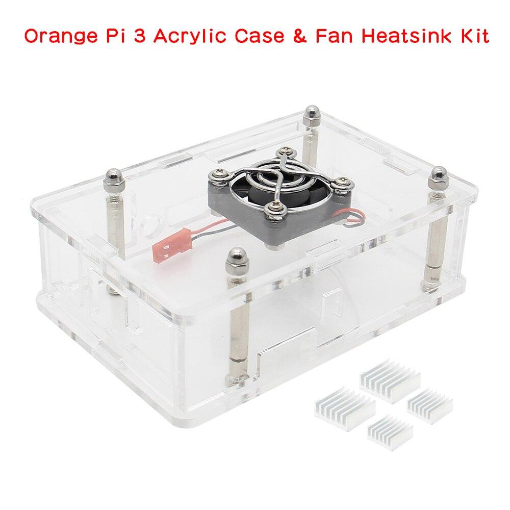 Orange Pi 3 Acrylic Case Set, Protective Shell + Fan + Aluminum Alloy Heatsinks Kit For Orange Pi 3