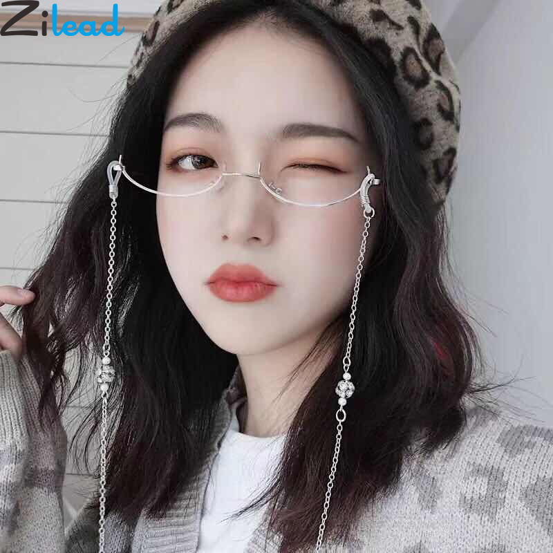 Zilead Lady's Cat Eyes Half Frame Glasses Frame Retro Women Crystal Chain Pendent Eyewear Glasses Without Lens Eyeglasses Frame