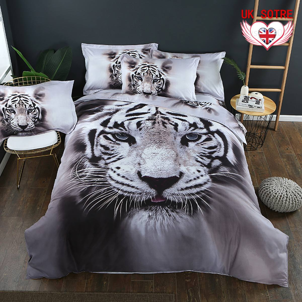 Tiger Duvet Quilt Cover Set Queen Size Animal Bed Pillow Cases 3D Animal Bed Cover Bedding Sets Quvet Cover <font><b>Pillowcases</b></font> Cover image