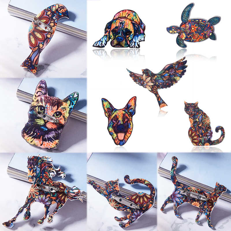 new  Cat Scarf Animals Bird Shirt Horse Lapel Acrylic 1PC Business Suit Tortoise Brooches Elephant Bag Dog Hat Denim Jeans