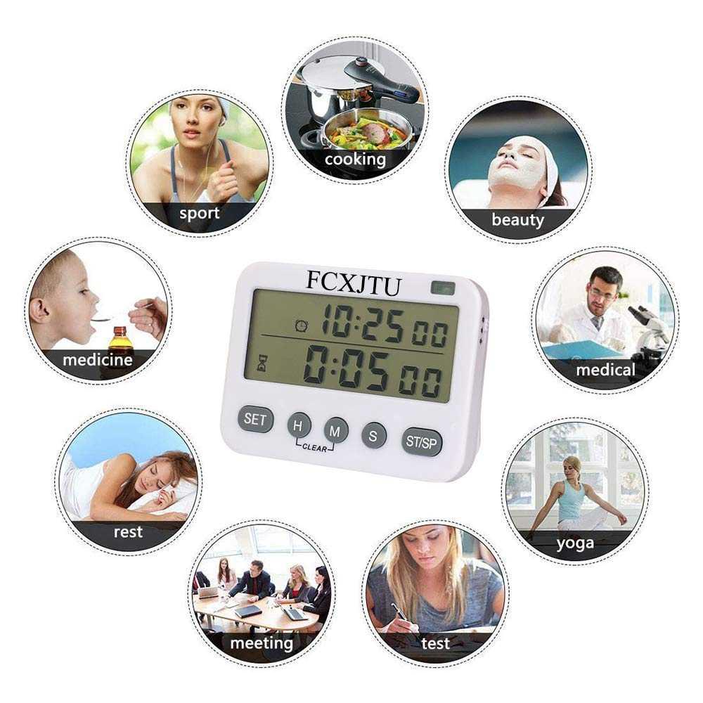 Ys Digital Timer Dapur, Menghitung/Bawah Waktu Memasak, Layar Besar, getaran/Senter/Alarm Keras, 24 Jam & Alarm CLO