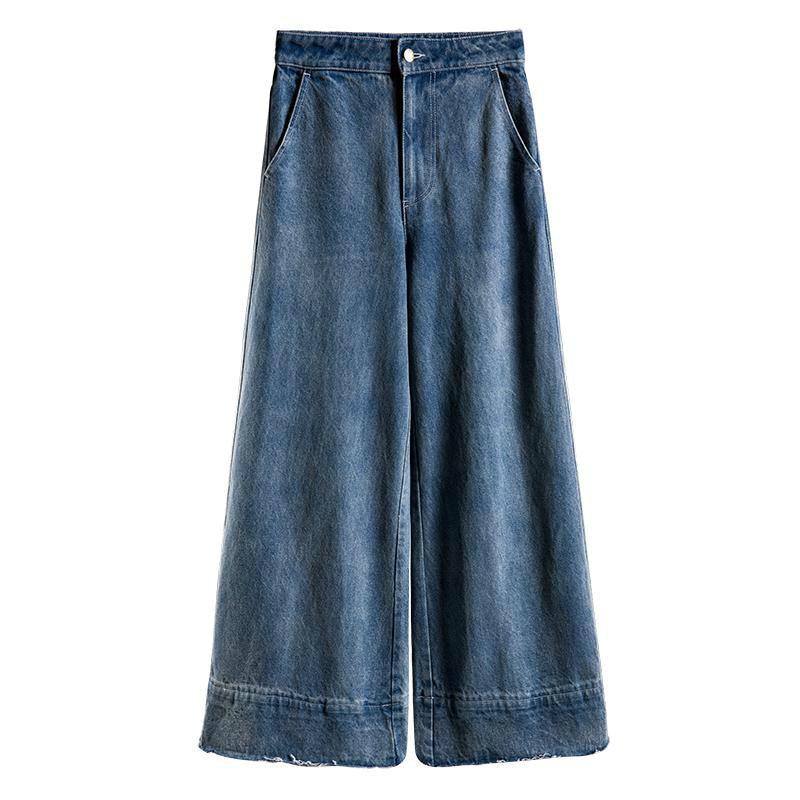 Completa Vintage Moda Longitud Ancha Alta Mujer Nueva Pantalones De E928 Cintura Casual Vaqueros Pierna Blue 2019 qSpxFvIxwg