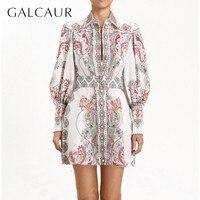 GALCAUR Casual Print Mini Dress Women Lapel Lantern Sleeve High Waist Button Short Dresses Female Fashion 2019 Spring New