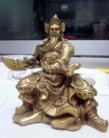 Chinese Brass Copper Warrior God GuanYu Statue