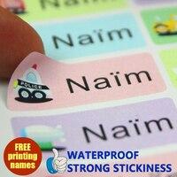 Мультипликационные наклейки с именами машин, Многоразовые водонепроницаемые наклейки, разноцветные ярлыки, детские наклейки, фирменные яр...