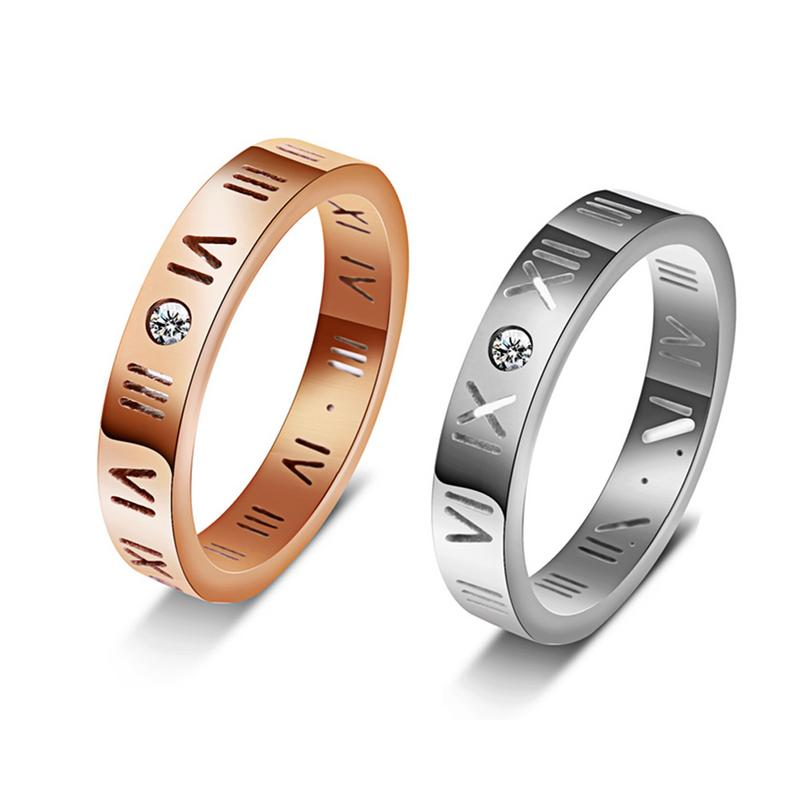 Rose Gold/Silver Couple Roman Digital Ring Korean Personality Couple Ring Classic Atmosphere Stainless Steel Rings