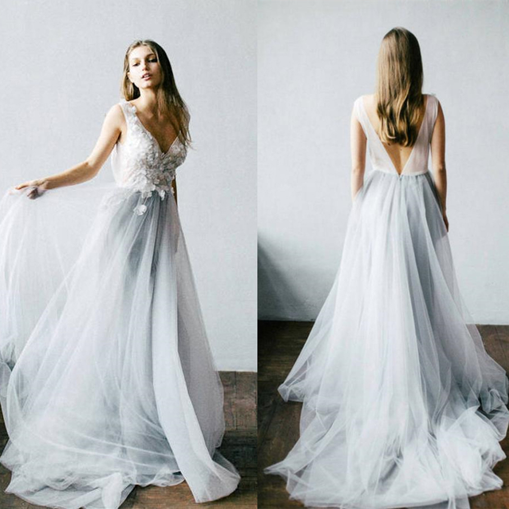 Dusty Blue Floral Wedding Dress With Tulle Skirt V-neck Bridal Gown Boho Bohemian Lorie Wedding Gowns Romantic Sleeveless Dress