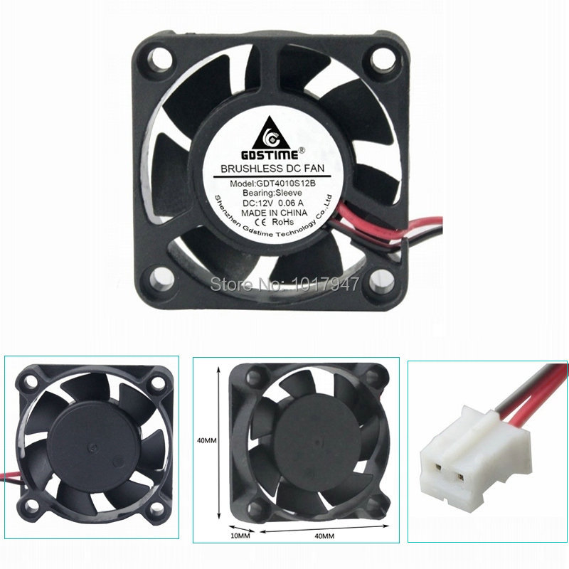 10 Pieces LOT Gdstime DC 12V 2Pin 4cm 40x40x10mm 40mm 4010 Small Brushless Cooling Cooler Fan