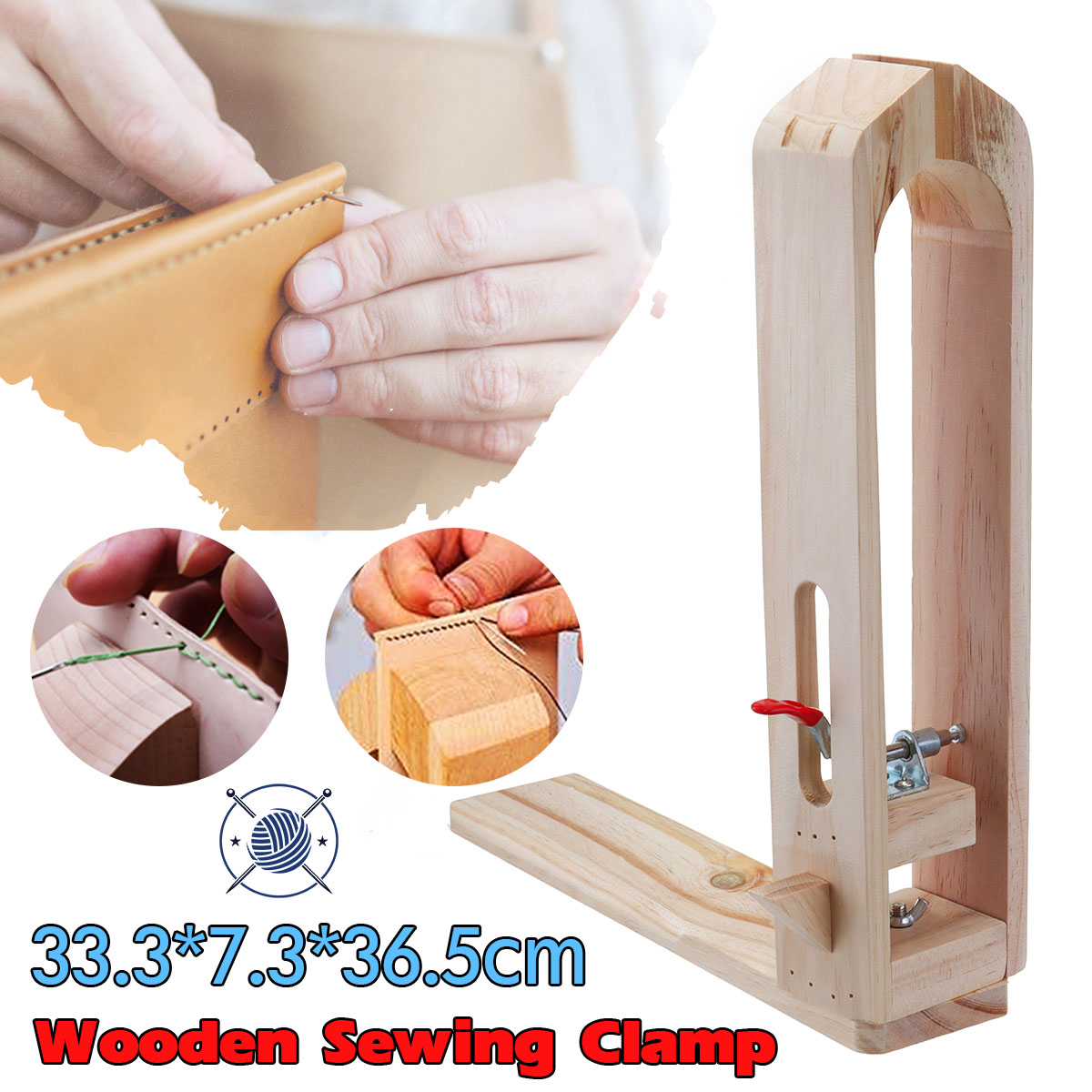 Leather Craft Hand Stitching Sewing Lacing Wooden Clamp Table Desktop Tools