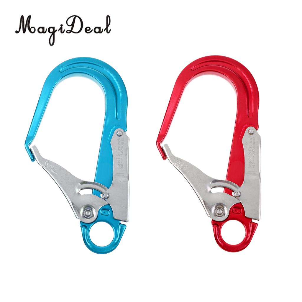 Outdoor 25KN Heavy Duty Rock Climbing Fall Protection Safety Lanyard Snap Clip Hook Blue/Red For Mountaineer Rappelling Camping