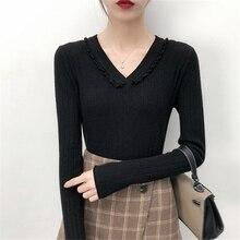 Suéteres de punto de mujer dulce cuello en V encaje pulóveres Chic Color  sólido Casual tejer dfee3f39a656