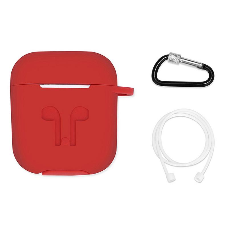 Silicone Soft Protective Case Wireless Bluetooth Earphones Cover Lanyard Anti drop Dust proof Portable Mini Bag For Airpods-in Earphone Accessories from Consumer Electronics