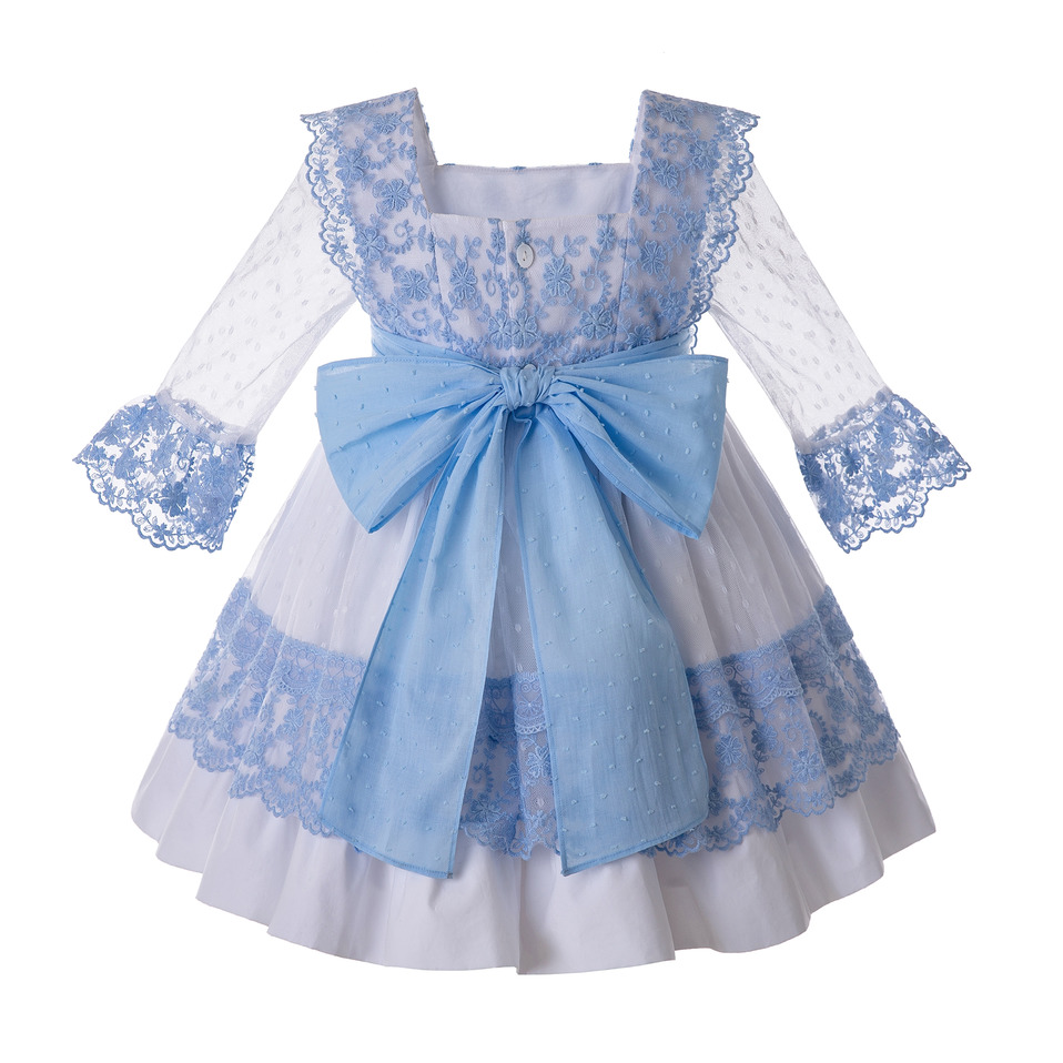 Image 2 - Pettigirl Blue Girls Dress With Bow Carved Hollow Design Girls  Party Dress Lovely Children Clothes G DMGD112 C130BLDresses   -