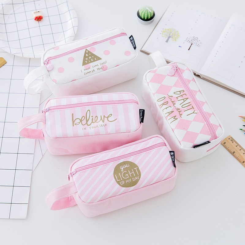 NOVERTY Pink Kawaii Large Capacity Canvas Cute Pencil Case Pen Bag Box Pouch Gift School Stationary Supplies Pencilcase 04893