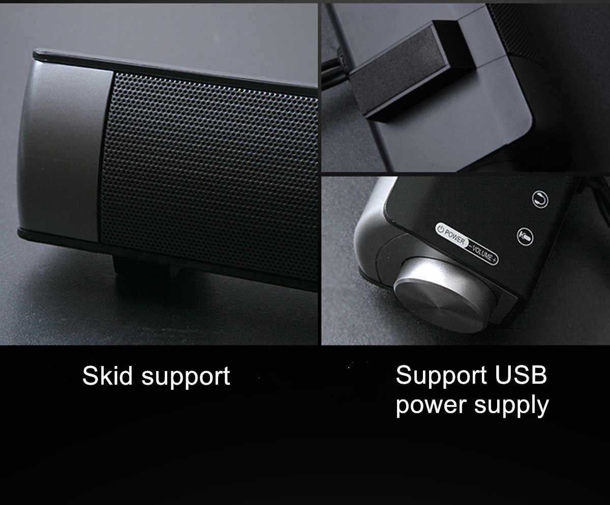Kabel Soundbar Speaker Sistem 6 W USB Multimedia Audio Hi Fi Stereo Sound Bar untuk Komputer PC Laptop Desktop Ponsel Pintar