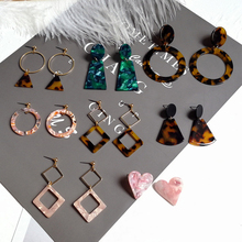 Fashion Leopard Earrings Acetate Atmosphere Exaggerated Edition Geometric Round Brown Acrylic