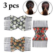 цены на 3PCS Beautiful Beaded Flower Shape Comb Hair Side Comb Decorative Floral Hair Comb Hair Accessories For Women  в интернет-магазинах