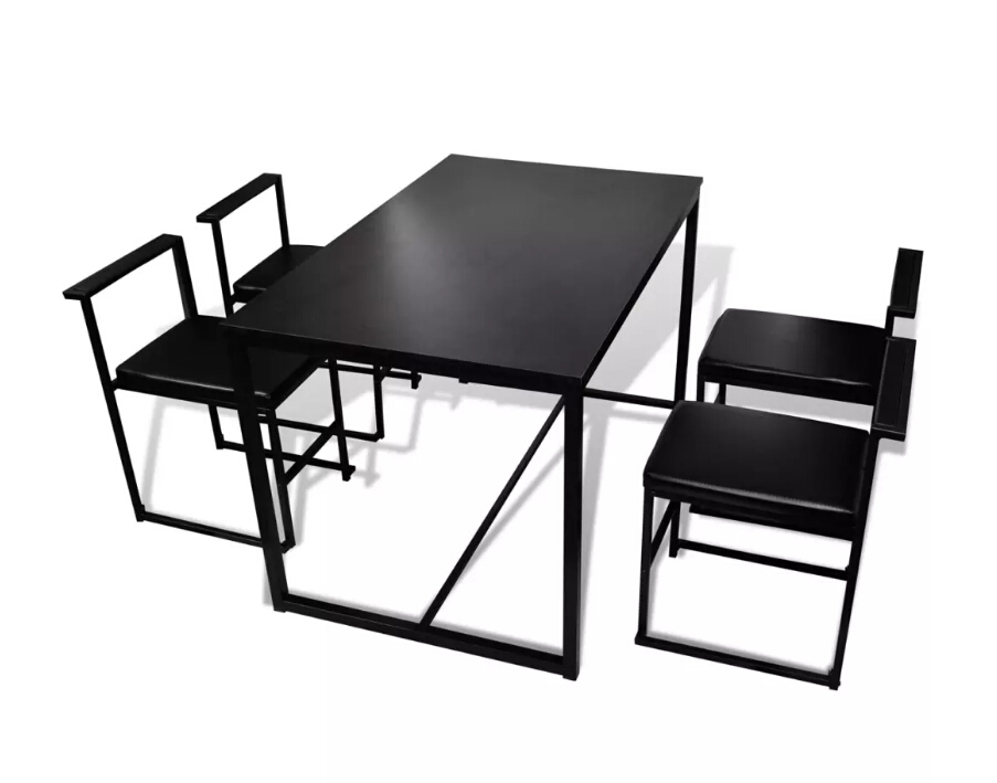 vidaXL Black 5-Piece Dining Table and Chair Set