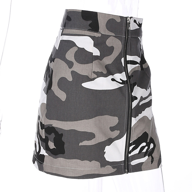 Camouflage Skirts Womens Mini Short A Line Skirt High Waist Sexy Fashion Gray Camo Bodycon Streetwear Zipper Skirt Harajuku in Skirts from Women 39 s Clothing