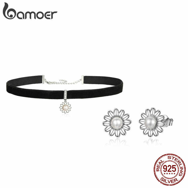 BAMOER Elegant 925 Sterling Silver Daisy Flower Freshwater Pearl Choker Necklaces & Earrings Jewelry Set Fine Jewelry Making