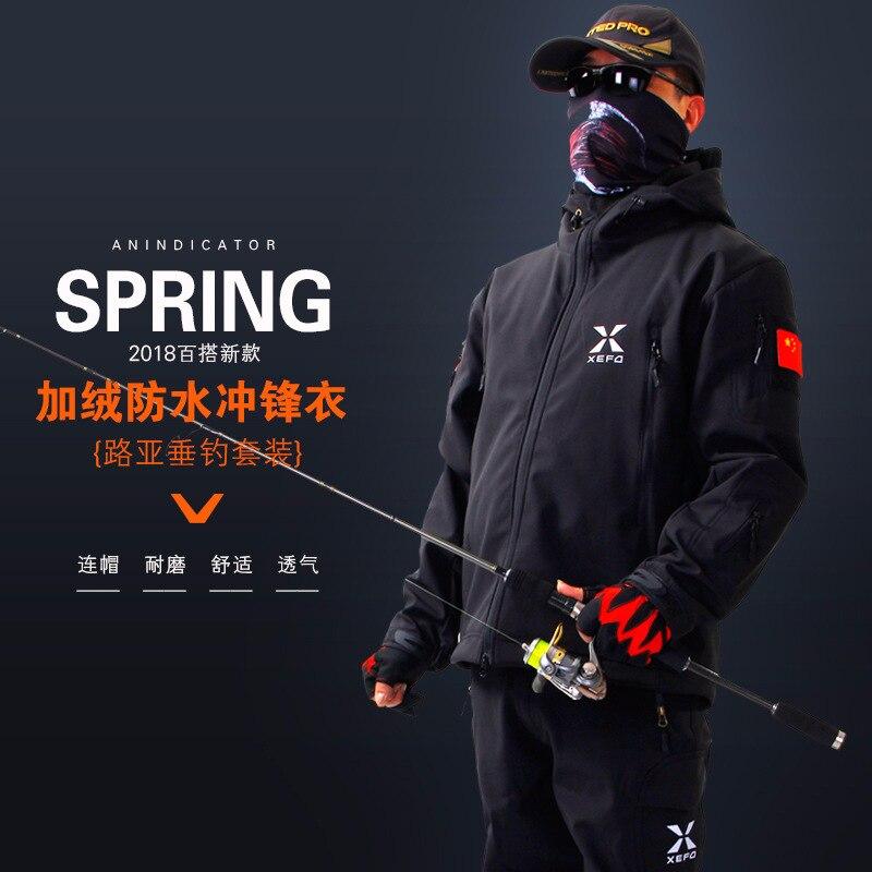 New Winter XEFD Fishing Clothing Suits Men s Plus Velvet Warm Waterproof Breathable Wear resistant Jacket