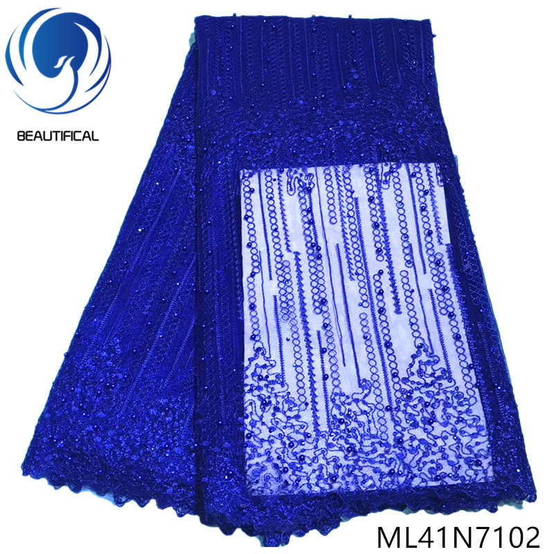 BEAUTIFICAL blue net lace fabric with beads nigerian net tulle fabric french lace for clothes 2019 ML41N71BEAUTIFICAL blue net lace fabric with beads nigerian net tulle fabric french lace for clothes 2019 ML41N71