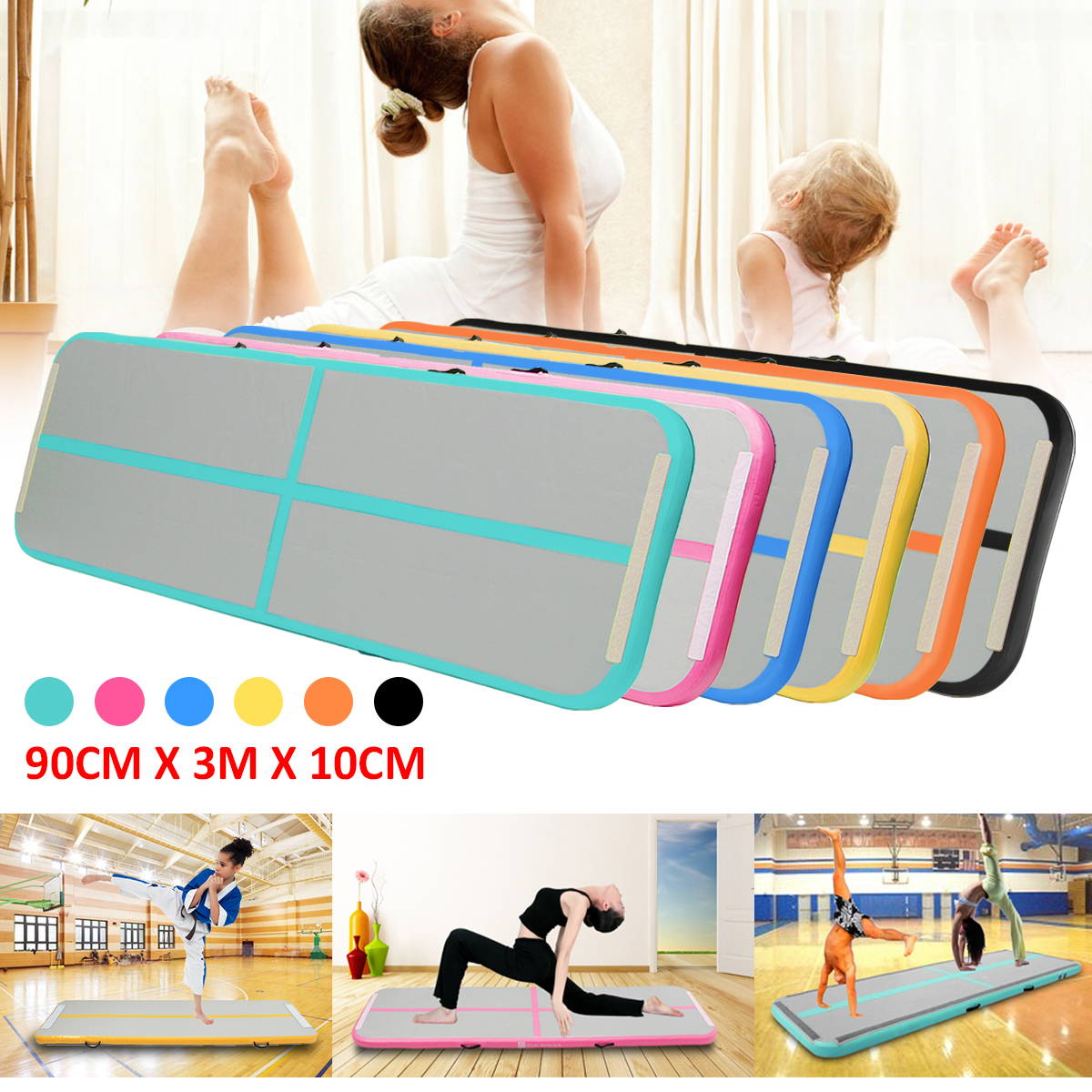El Mejor Reparto 0,9*3 M pista caída inflable trampolín aire piso hogar gimnasio gimnasia inflable Air Tumbling Mat