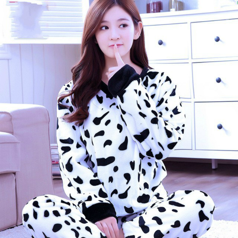 Cute Print Cartoon Monkey Bear   Pajamas     Sets   Woman Warm   Pajamas   Thicken Flannel Sleepwear Winter Long Sleeve Two Piece   Sets