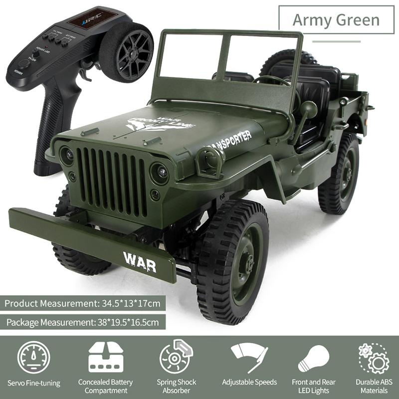 Mini Military Jeep Remote Control Buggy 4-Wheel Drive RC Truck Suspension Off-Road Vehicle Simulation Model 1:16 ChildMini Military Jeep Remote Control Buggy 4-Wheel Drive RC Truck Suspension Off-Road Vehicle Simulation Model 1:16 Child