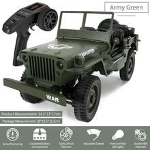 Mini Military Jeep Remote Control Buggy 4-Wheel Drive RC Truck Suspension Off-Road Vehicle Simulation Model 1:16 Child