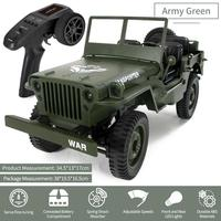 Mini Military Jeep Remote Control Buggy 4 Wheel Drive RC Truck Suspension Off Road Vehicle Simulation Model 1:16 Child