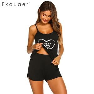 Image 5 - Ekouaer женское нижнее белье, шорты, пижамы, круглый вырез, регулируемый ремень, комплект пижам с принтом