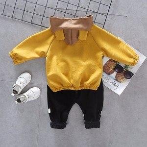 Image 2 - Children Girls Boys Cotton Clothing Spring Autumn Kid Cartoon Hooded Jacket Stripe T Shirt Pants 3Pcs/Set Fashion Baby Tracksuit