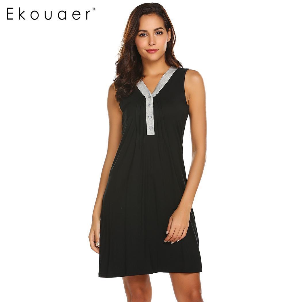 Ekouaer   Nightgown   Women   Sleepshirts   Night Dress Pleated Sleeveless Loose Nursing Maternity Nightdress Casual Dress Nightwear