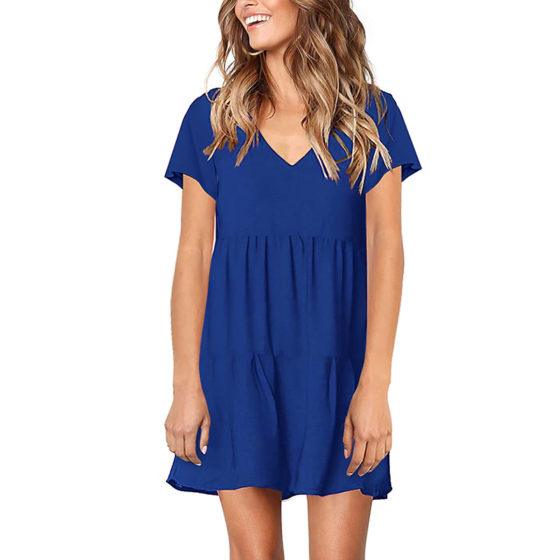 Fashion Casual Mini Dress Short Sleeve Neck Summer Dresses Solid Loose Basic Female Dresses Vestidos mujer Elbise 2019 New